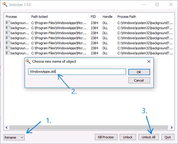 Переименование папки WindowsApps в Windows 10