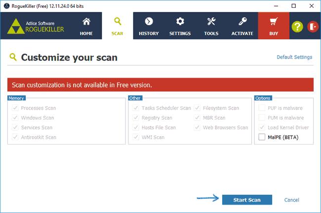 Запуск поиска вредоносных программ в RogueKiller