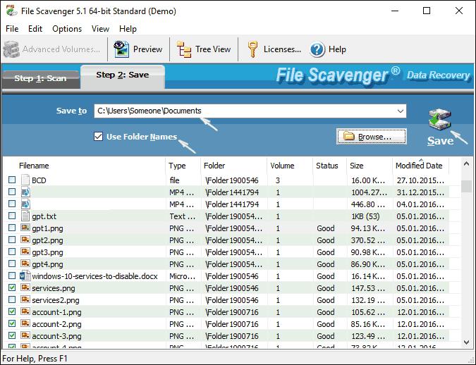 Сохранение восстановленных файлов в File Scavenger