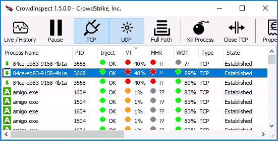 Анализ процессов Windows в CrowdInspect