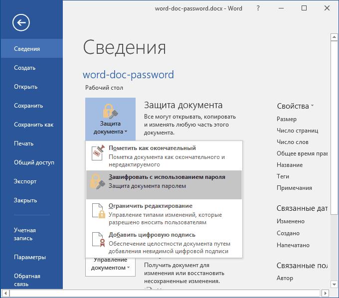 Установка пароля на документ Word 2016