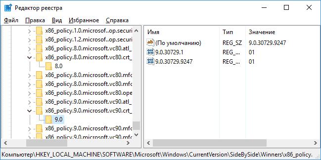 Параллельная конфигурация в реестре Windows