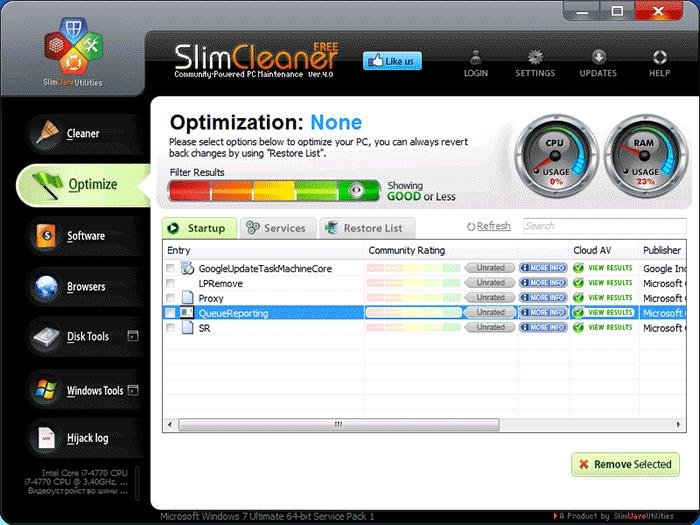 Оптимизация системы в SlimCleaner