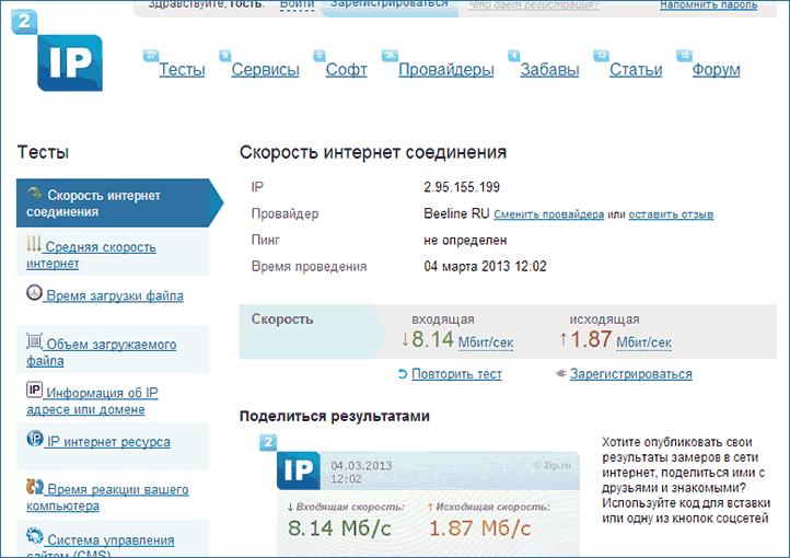 Результат проверки на 2ip.ru
