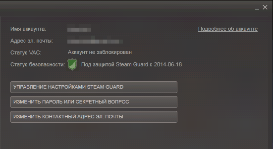 Параметры Steam Guard