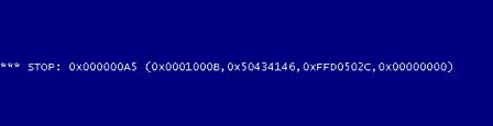 Синий экран смерти с ошибкой 0x000000A5