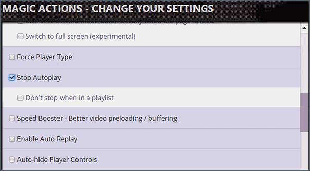 Stop Autoplay в расширении Magic Actions