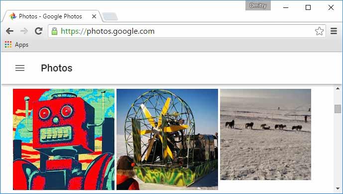Синхронизированные с Google фотографии Android