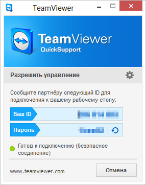 Главное окно TeamViewer Quick Support