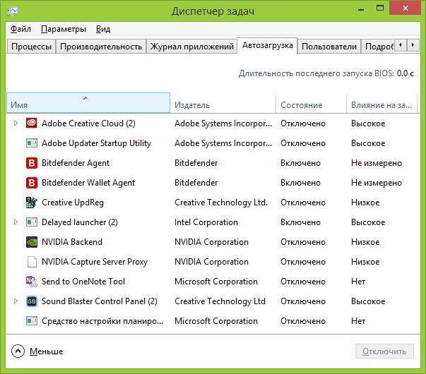Отключение программ в автозагрузке Windows 10