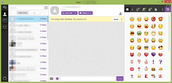 Главное окно Viber для рабочего стола