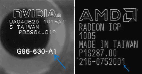 Маркировка на графических чипах NVIDIA и AMD
