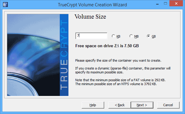 Размер тома