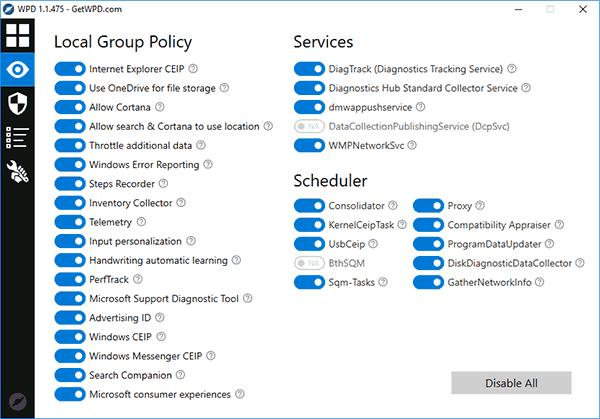 Отключение слежки Windows 10 в WPD
