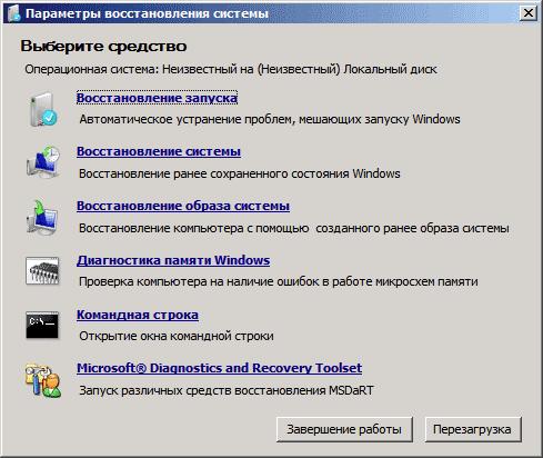 Опции восстановления Windows 7