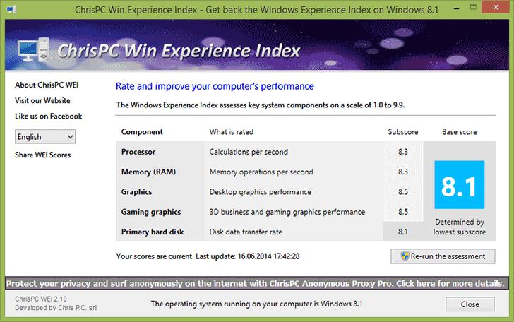 Просмотр индекса производительности Windows 8.1 с помощью программы Win Experience Index