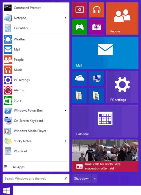 Меню Пуск в Windows 9