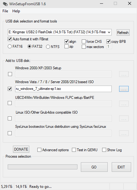 Настройки WinSetupFromUSB для FAT32