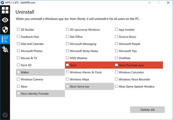 Удаление встроенных приложений Windows 10 в WPD