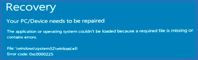 Ошибка 0xc0000225 при загрузке Windows 10