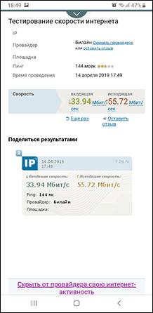 Скорость интернета в 2ip.ru