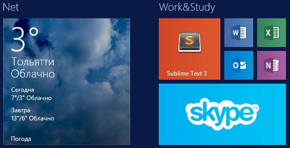 4 размера плиток в Windows 8.1