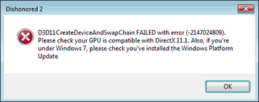 Ошибка D3D11CreateDeviceAndSwapChain Failed в Windows 7