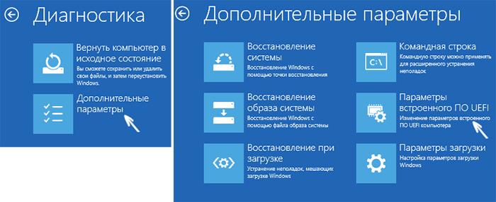 Вход в UEFI в Windows 10