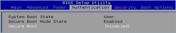 Опции Secure Boot на ПК Acer