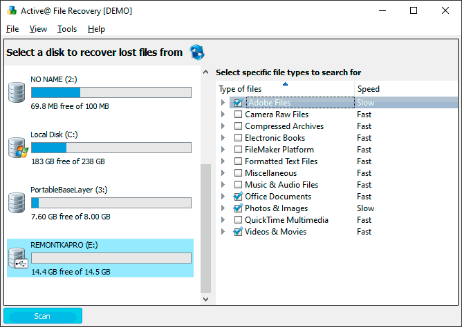 Выбор диска для восстановления