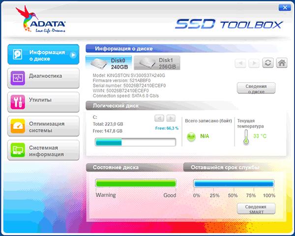 Программа ADATA SSD Toolbox