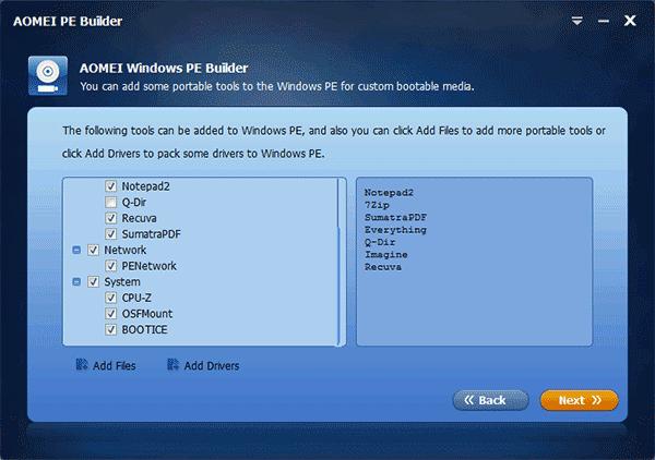 Выбор компонентов Windows PE