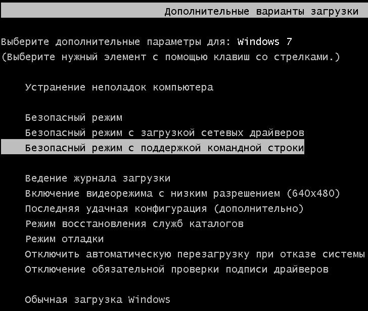Расширенные варианты загрузки Windows