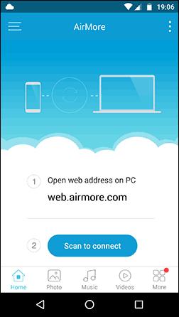 Главное окно приложения AirMore