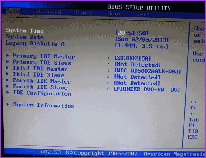 Утилита настройки AMI BIOS