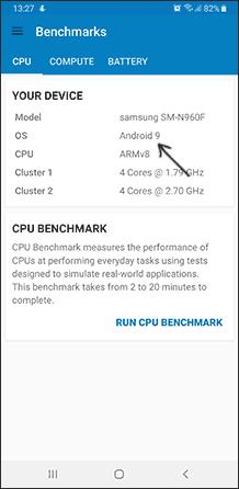 Просмотр версии Android в Geekbench