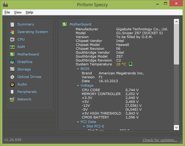 Информация о версии BIOS в программе Speccy