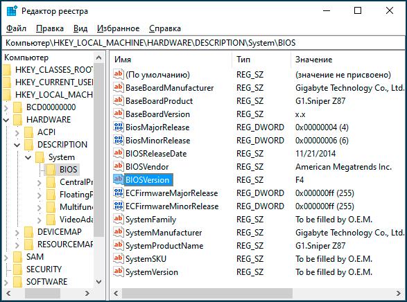 Windows 10 registridagi BIOS versiyasi