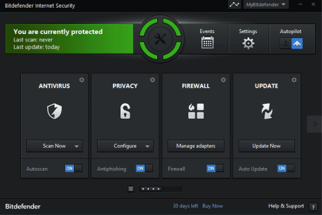Интерфейс BitDefender Internet Security 2014