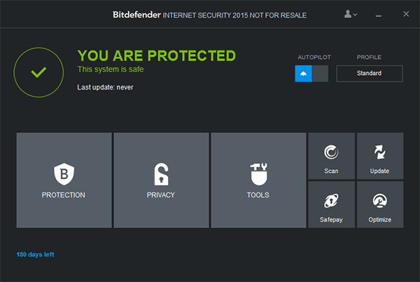 Главное окно Bitdefender Internet Security 2015