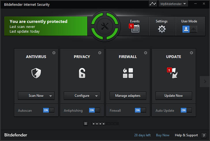 Bitdefender Internet Security asosiy oynasi