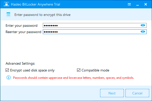 Пароль шифрования BitLocker Anywhere