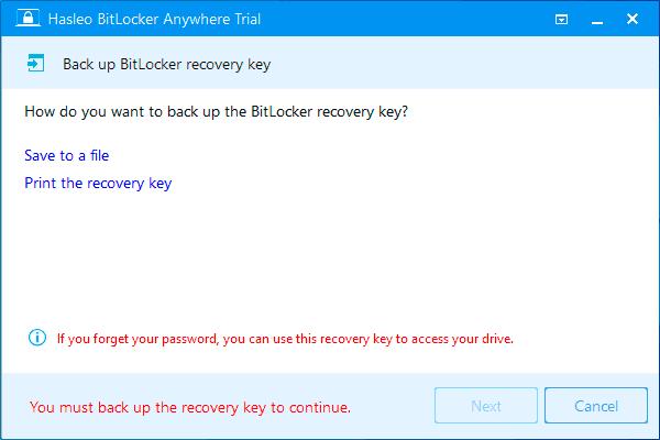 Сохранение ключа восстановления BitLocker