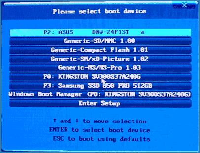 Выбор устройства загрузки в Boot Menu