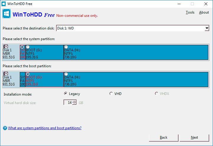 Выбор системного и загрузочного разделов в WinToHDD