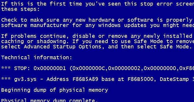 Синий экран смерти BSOD
