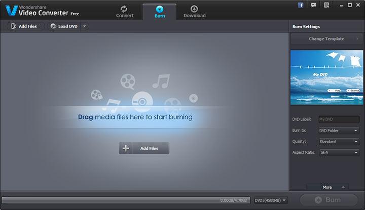 Запись DVD в Wondershare Video Converter