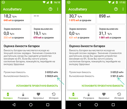 Вычисленная реальная емкость аккумулятора Android