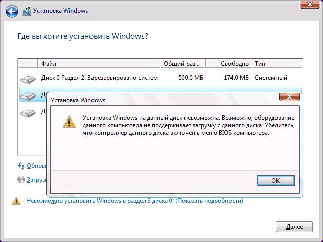 Ошибка Установка Windows на этот жесткий диск невозможна