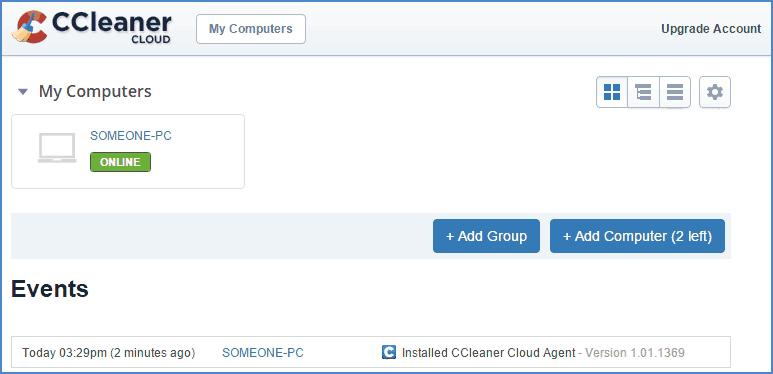 Интерфейс CCleaner Cloud